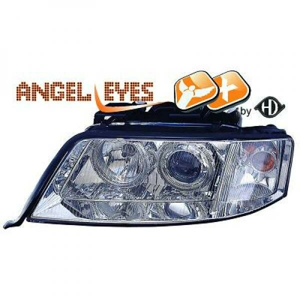 Angel Eyes Scheinwerfer Set Audi A6 C5 4B BJ 97-01 Klarglas/Chrom