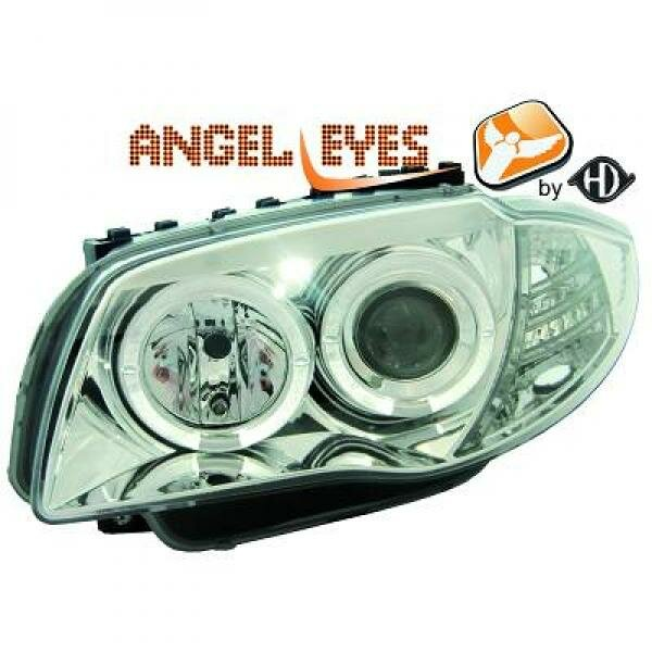 Angel Eyes Scheinwerfer Set BMW 1er BJ 04-11 Klarglas/Chrom