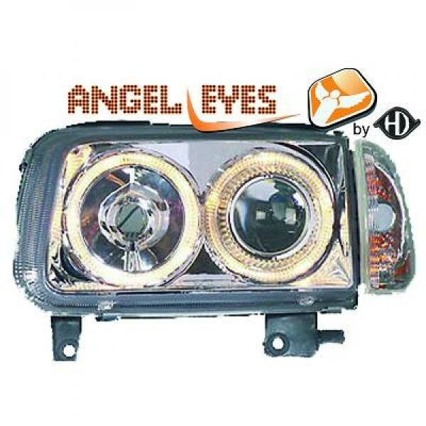Angel Eyes Scheinwerfer Set Volkswagen Polo BJ 99-01 Klarglas Chrom