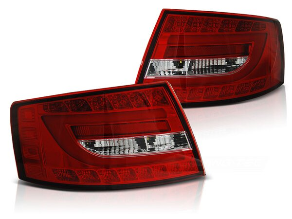 Lighttube Rückleuchten Audi A6 (C6) BJ 04.04.-08 red / crystal 6 Pin