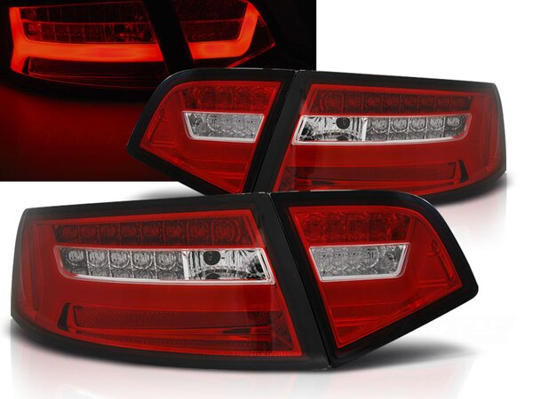 LED Rückleuchten Set Audi A6 Limousine BJ 2009-2011 Rot / Chrome